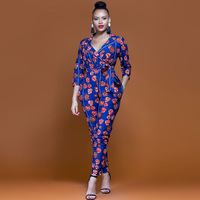 2018 New Summer Womens Slim Rompers Jumpsuit Women African Print Clothing Casual Sexy Fashion Party Small