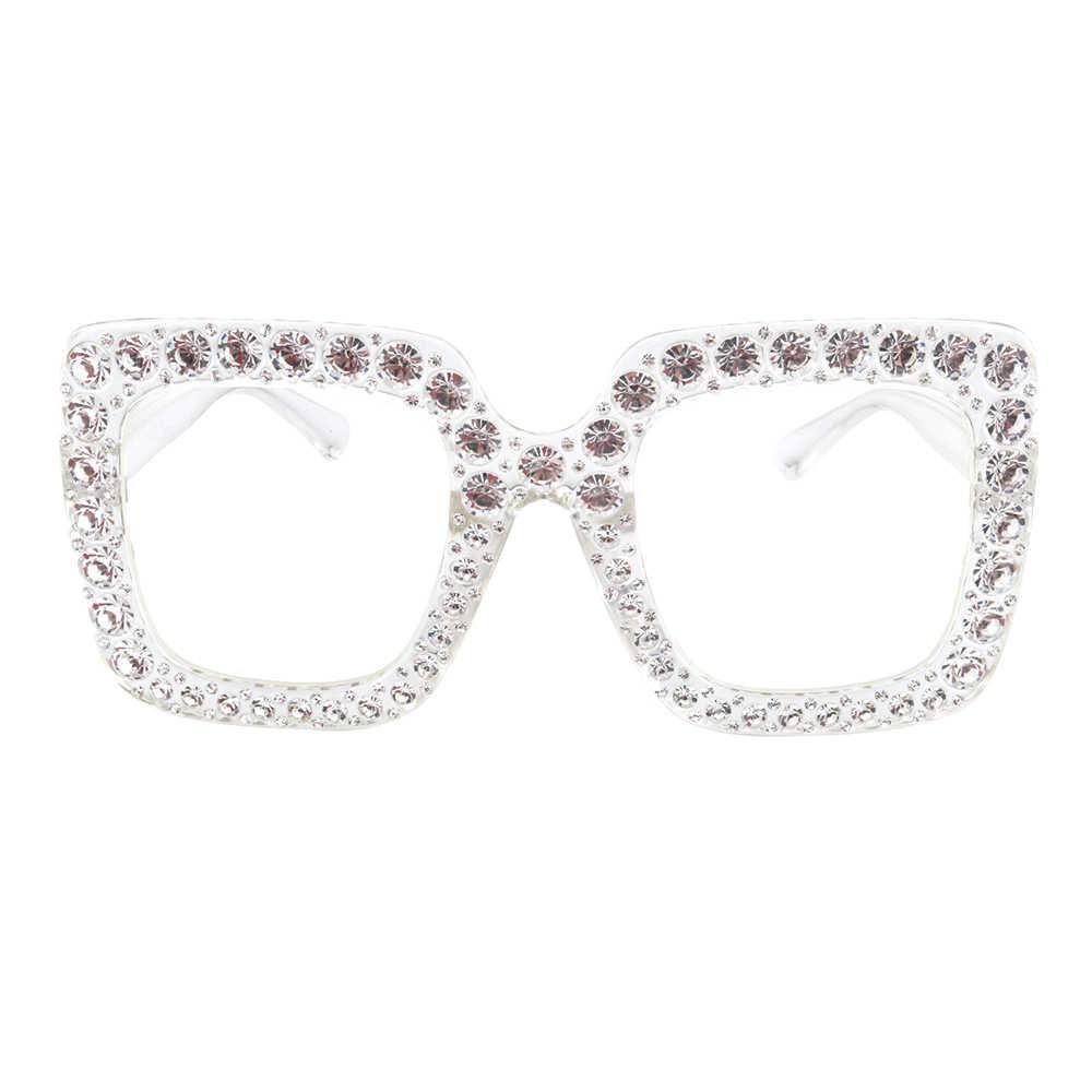 f14aa133d7 ... Real chica cuadrado de diamantes de imitación gafas de sol mujer marca  diseñador de cristal gafas ...