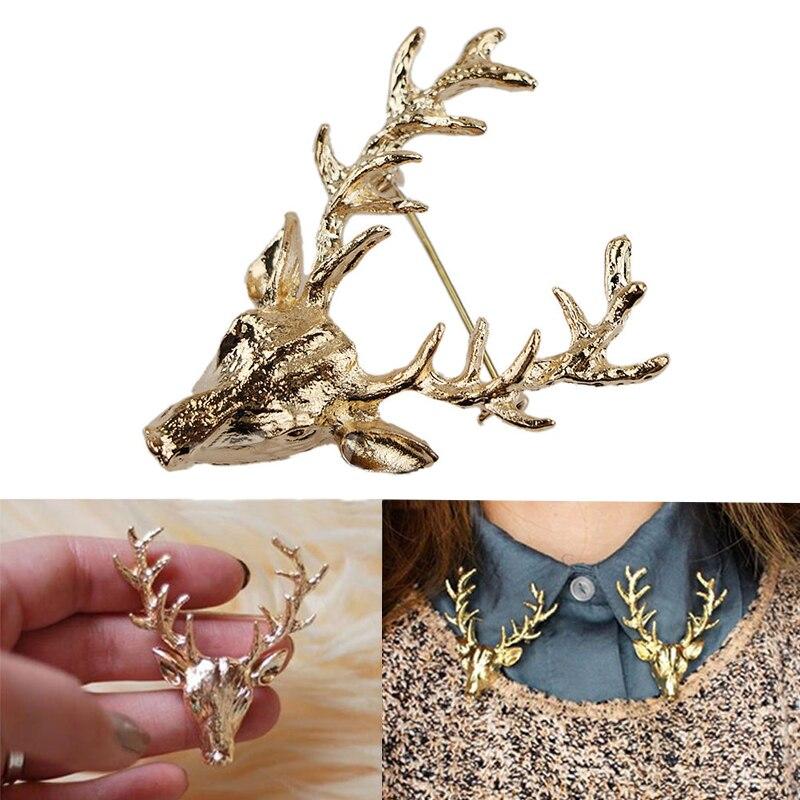 ff1d52dbe05b Mode 1 Pc 2 Couleurs Unisexe Vintage Or et Bronze bois de Cerf Tête Broches  Broches Bijoux Cadeau