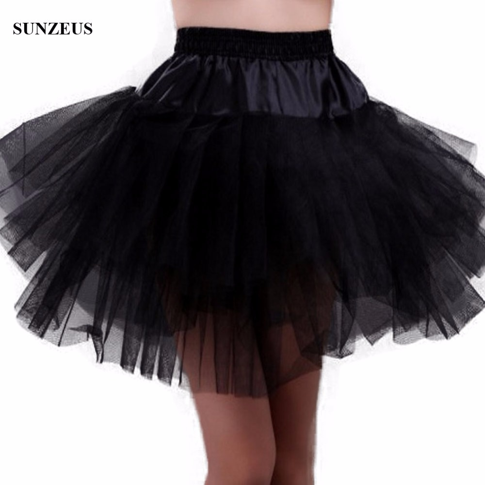 Tulle Petticoat Crinoline Short Black Underskirt 3 Layers Jupon Evening Skirt One Size Free Shipping BV-046