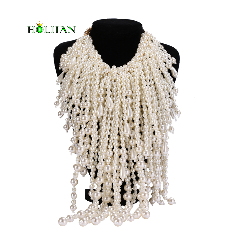 Women super big pearl necklace&pendants statement beads fringe chokers necklace hyperbole collar top trendy collar unique design trendy women s sandals with solid colour and fringe design