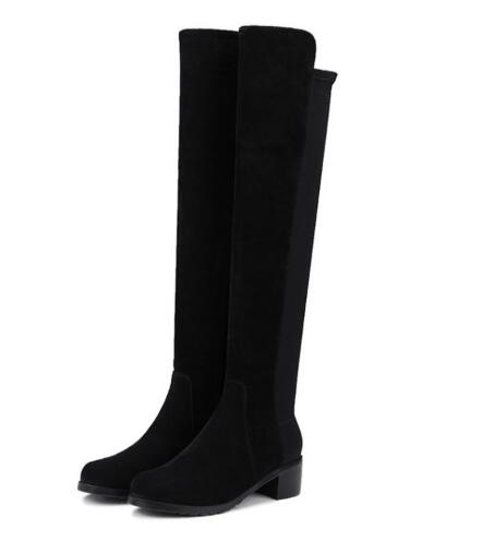 Autumn and winter new black round toe chunky heel long boots for women Ladies splicing medium heel knee-high long boots ladies wicking antimicrobial jersey black medium