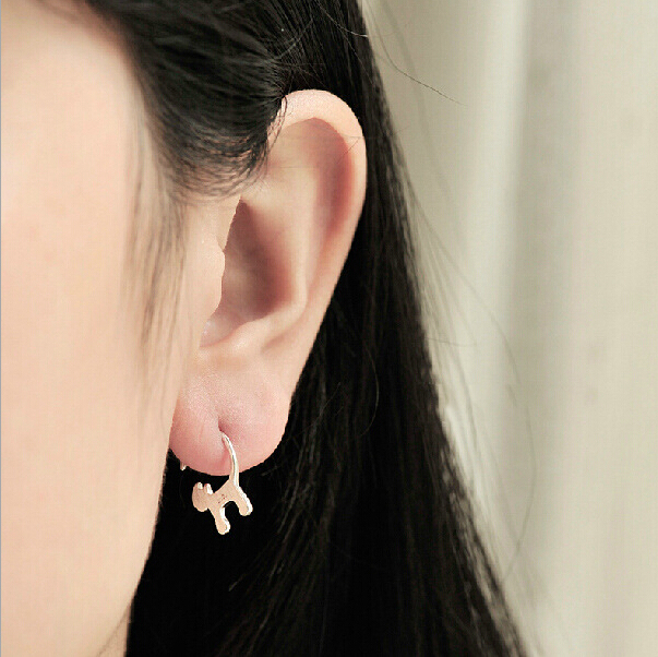 925 Sterling Silver Cute Long tailed Cat Earrings