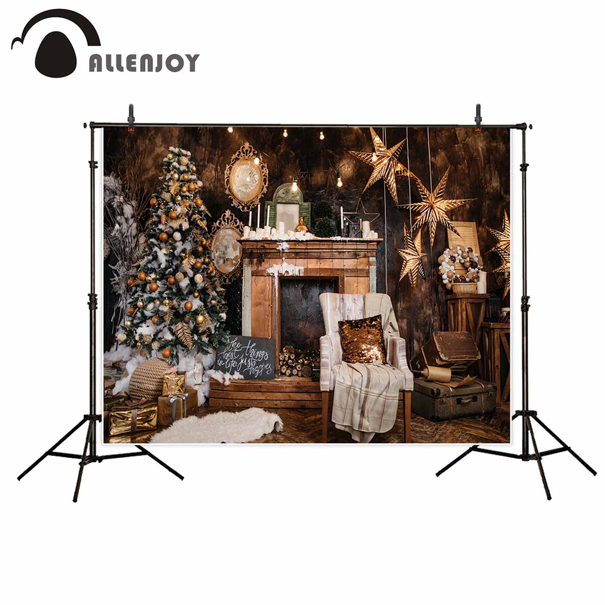 Allenjoy Christmas photographic background vintage stars tree wood chair new professional backdrop photobooth photo studio