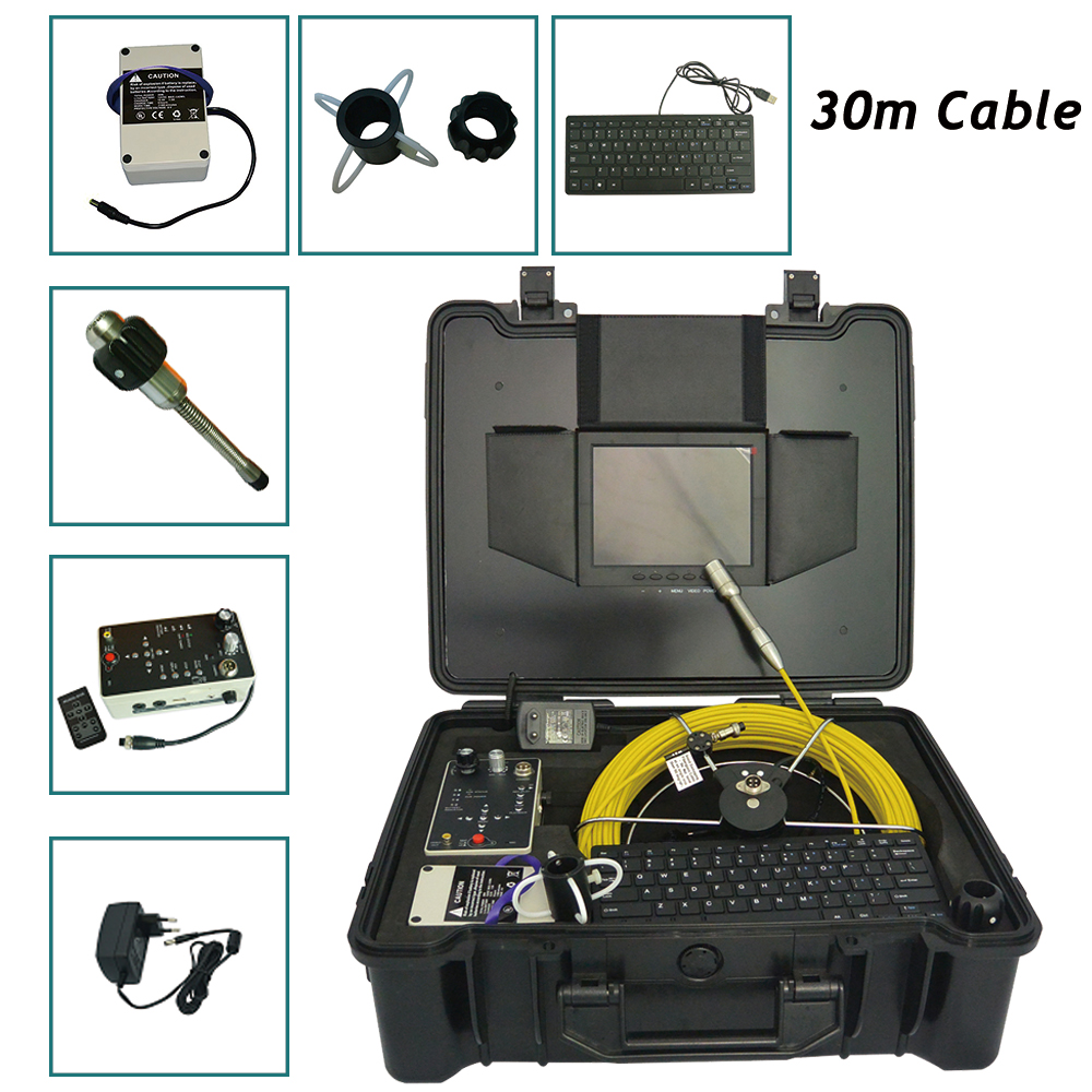 29mm Sewer Pipe duct cctv Video Inspection Camera Self-Leveling pipeline inspection camera with 512hz transmitter 30m cable image