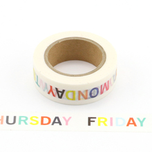 1X Monday to Sunday words Decorative Washi Tape DIY Scrapbooking Masking Tape School Office Supply Escolar Papelaria 2j202 1 5cm wide the puzzle world decorative washi tape diy scrapbooking masking tape school office supply escolar papelaria