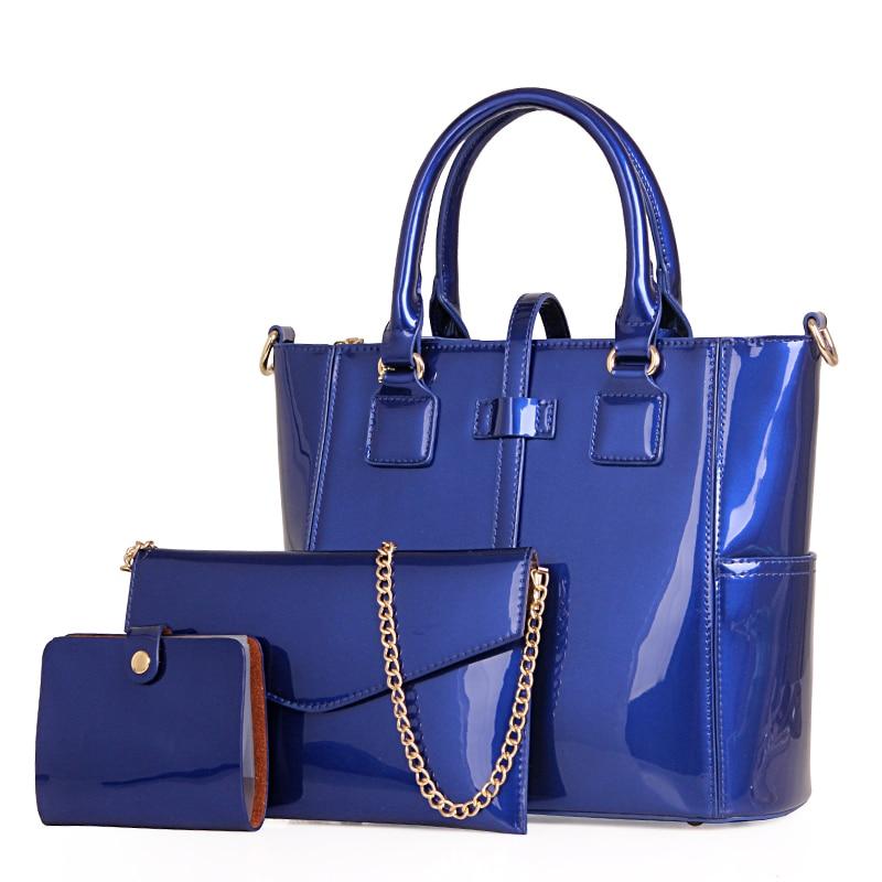 New Arrival Three Solid Patent Leather Women Composite Bags Women Handbags Vintage Bags Women Shoulder Bag Casual Totes Mini Bag все цены