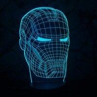 New Marvel Avengers 3D Homem De Ferro Máscara de Lâmpada LED Night Light Superhero Movie Figura illusion Novidade Criativo Crianças Brinquedo Do Menino Presente do USB