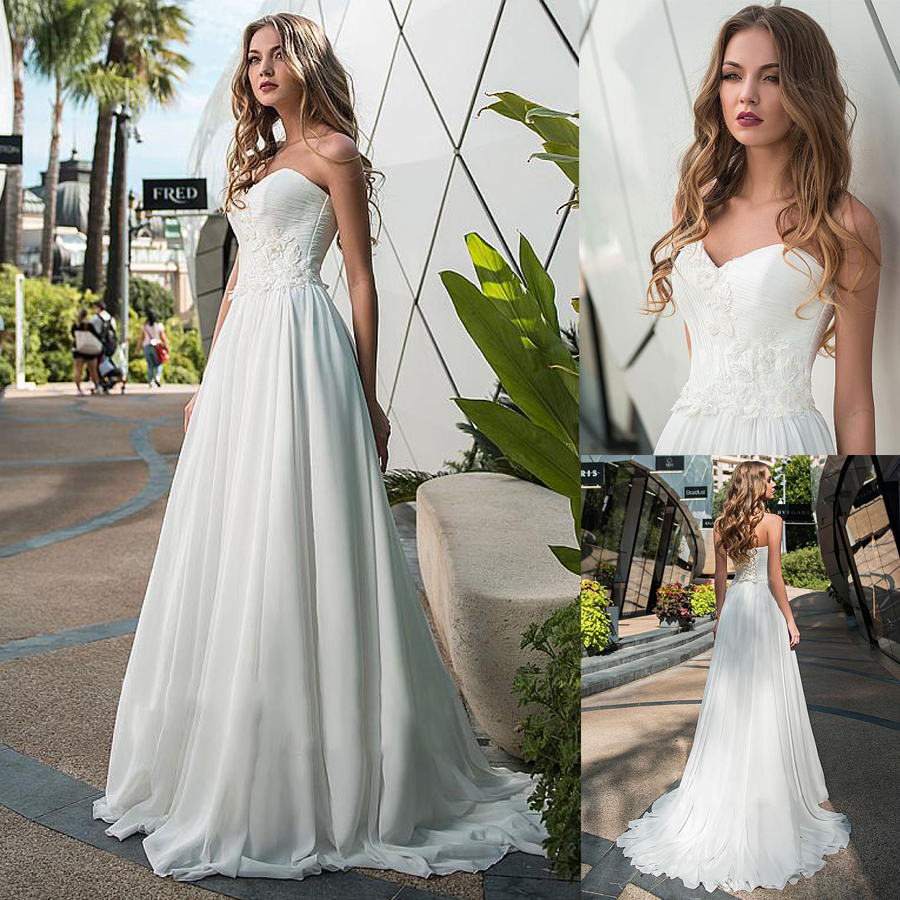 Modest Chiffon Sweetheart Neckline A-line Wedding Dresses With Beaded Lace Appliques Bridal Dress Robe Soiree