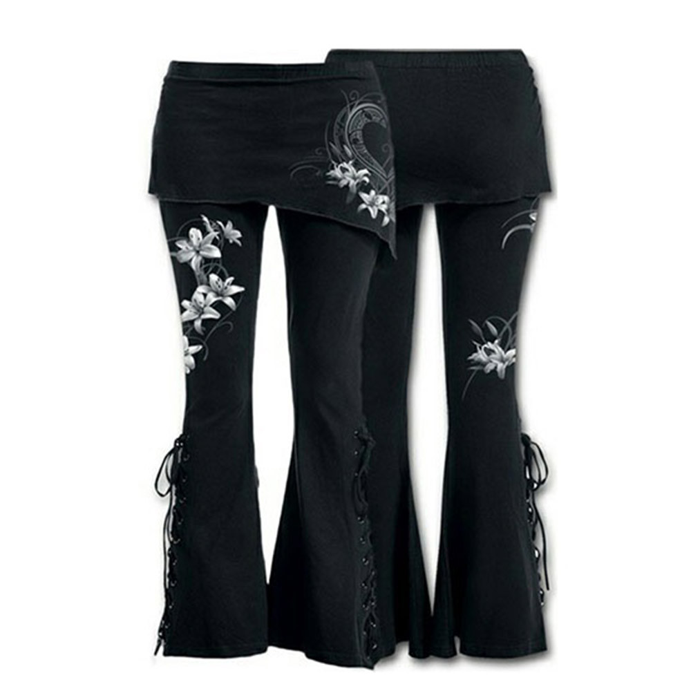 Women's sports   pants   Women Black Embroidered Casual Bandage Flares Punk Lace Up Bell Bottom Leggings flare   pants     wide     leg     pants