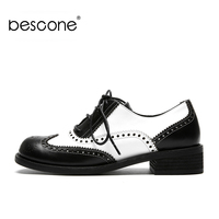 BESCONE Women Casual Flat Shoes New Genuine Leather Bullock Lace up Female Office Flats Comfortable Handmade Ladies Flats BO225
