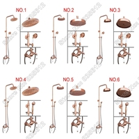 Bathroom Round Rain Shower Faucet Sets Antique Red Copper Finish Wall Mounted Dual Ceramic Handle Mixer