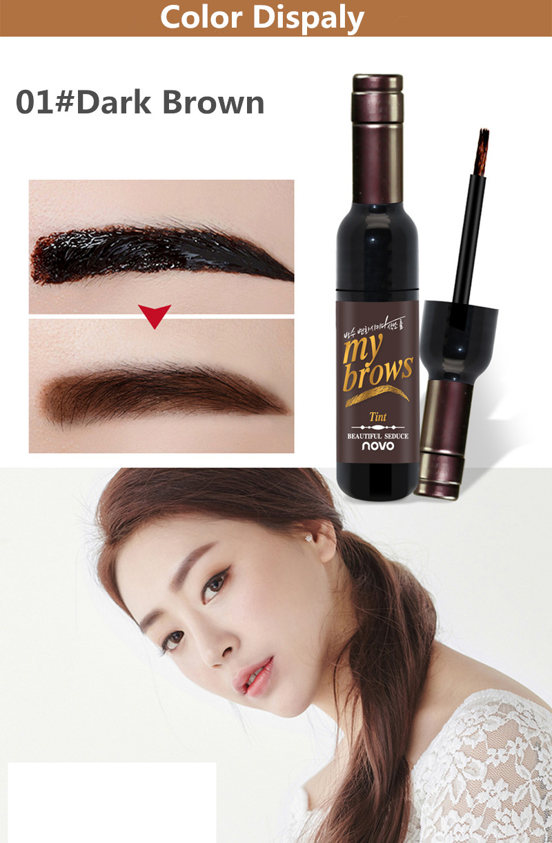 NOVO Eye Makeup Red Wine Peel Off Eye Brow Tattoo Tint Waterproof Long-lasting Dye Eyebrow Gel Cream Mascara Make Up Cosmetics 4
