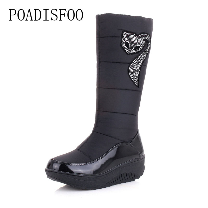 POADISFOO Sown Boots 2017 winter new feather cloth stitching leather boots Rhinestone decorative pattern cotton shoes.X-45