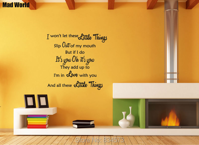Mad World 1D ONE DIRECTION LITTLE THINGS LYRICS Wall Art Stickers ...