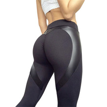 Leggings Skinny-Pants Booty Push-Up Yoga Sport Patchwork Women Black Heart-Shape