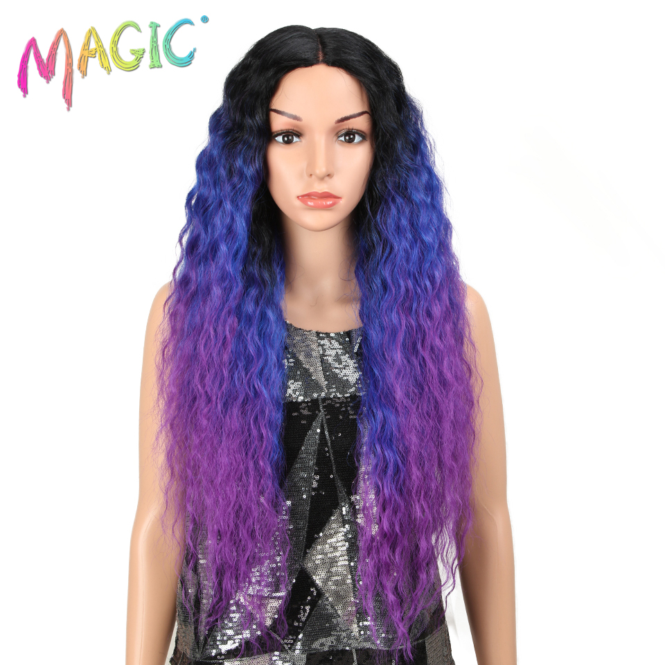 Magic Long Wavy Ombre 613 Side Part Synthetic Lace Front Wig For Black Women Heat Resistant Dark Roots Women Natural Hair Wigs