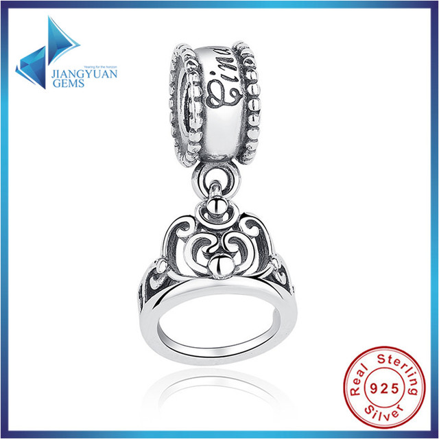 2016 Nova Moda Prata Esterlina 100% 925 Cinderela Crown Encantos Fit Pandora Bracelet & Necklace Da Jóia Acessórios Hot Sell