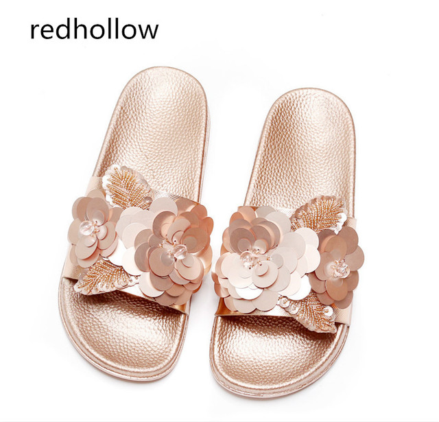 12d7a3778bc Women Summer Beach Shoes Woman Slippers Flat Heels Fashion Ladies Sandals  Slippers Womens Zapatos Mujer Ladies