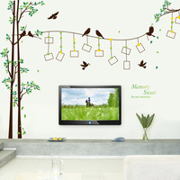 Sweet memory tree bird envío gratis: large 3d diy foto tree pvc wall stickers/adhesivo pegatinas de la familia mural art home decor