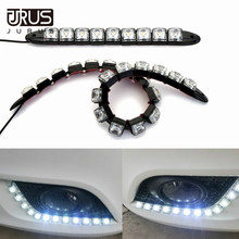 цена на JURUS 2X 6-20 LEDs Car COB LED Strip 12V Fog Lights Driving Lamp DRL Flexible Daytime Running Light Car-Styling Car Accessories