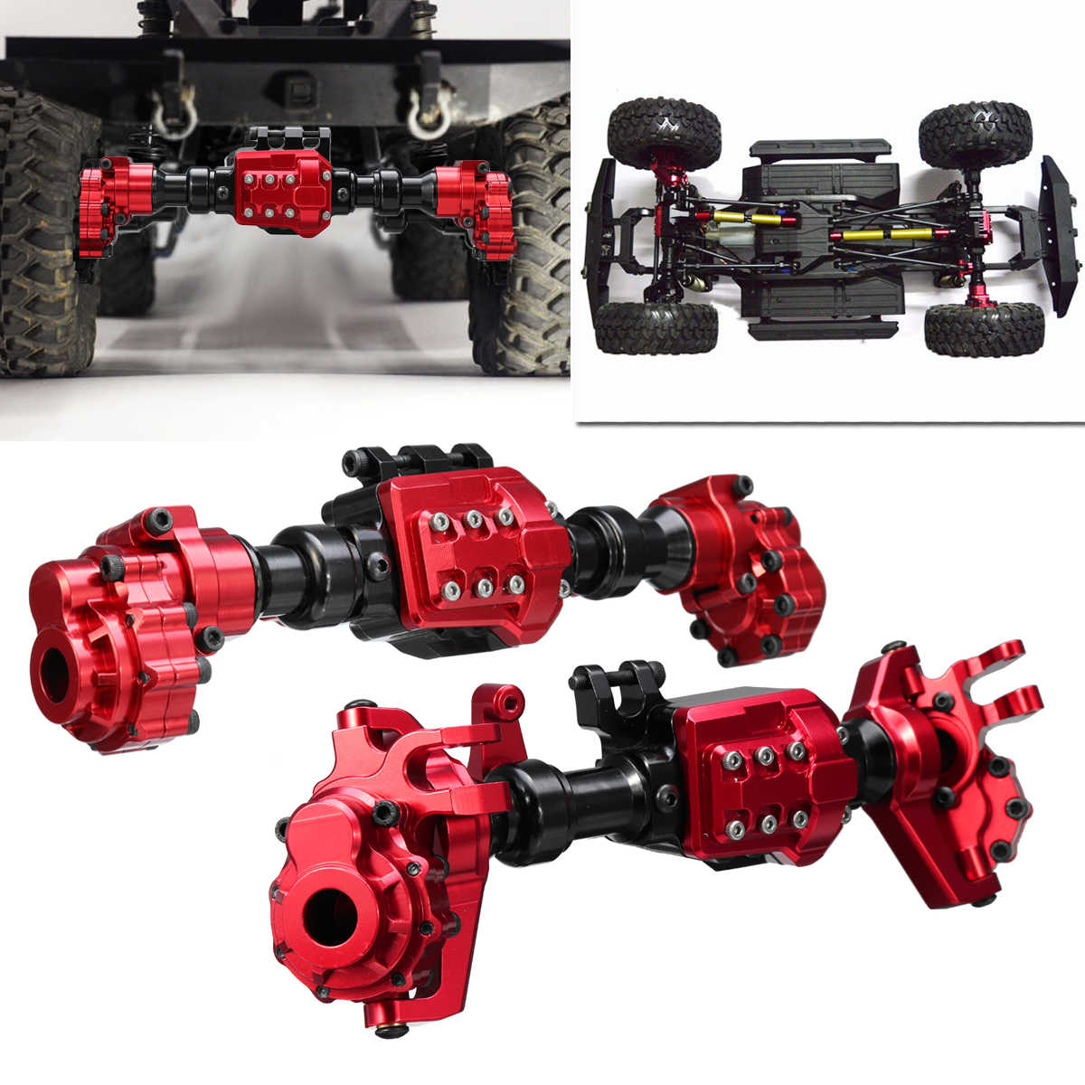 Carcasa de ejes de Portal trasero delantero para TRX-4 CNC aleación de aluminio RC orugas de coche superficie anodizada Anti ligero rayado rojo
