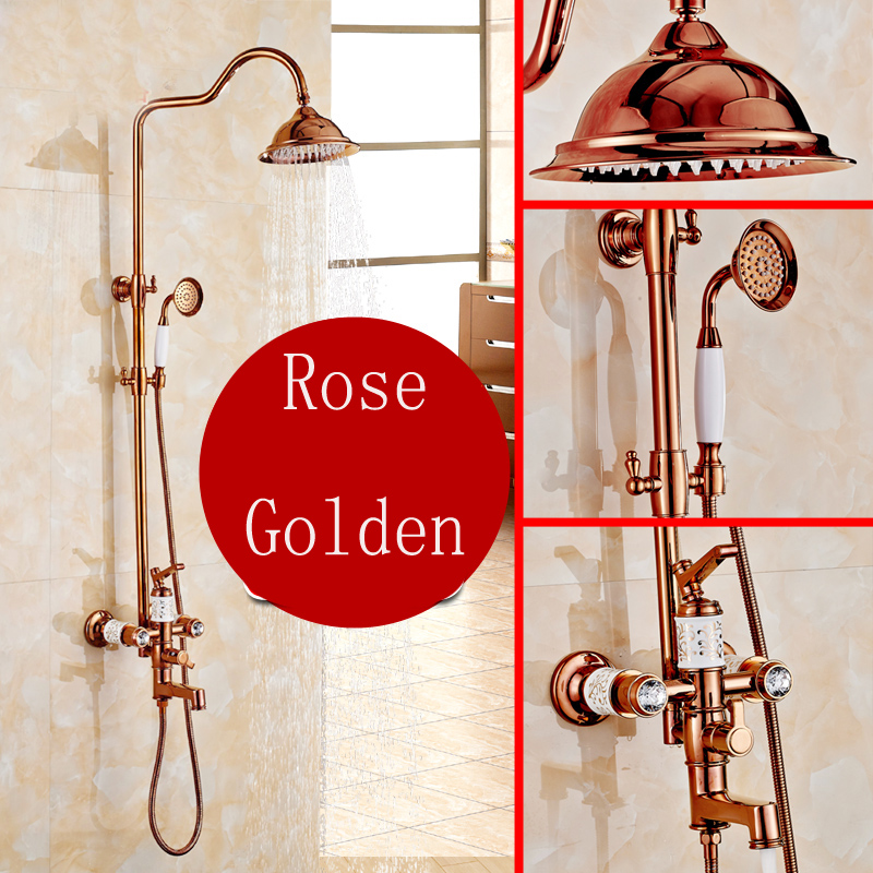 Factory Promotion Best Quality Rose Golden 8 Rainfall Shower Head with Single Hand Shower