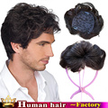 100% Natural HumanHair Stock Curl Top Men Toupee Remy Hair Piece Cover White Hair Hand made 13X13CM Woman's Wig Hair Replacement
