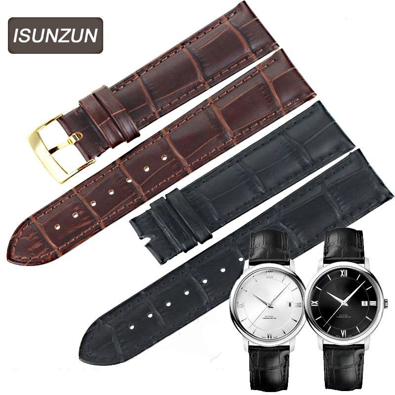 ISUNZUN 18mm 19mm 20mm Bracelet en cuir véritable noir marron Bracelet DE montre pour Omega DE VILLE Bracelet DE montre hommes/Momen montre Bracelet