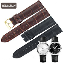 ISUNZUN 18mm 19mm 20mm Genuine Leather Watchband Black Brown watch strap For Omega DE VILLE Watchband Men/Momen Watch Bracelet  все цены