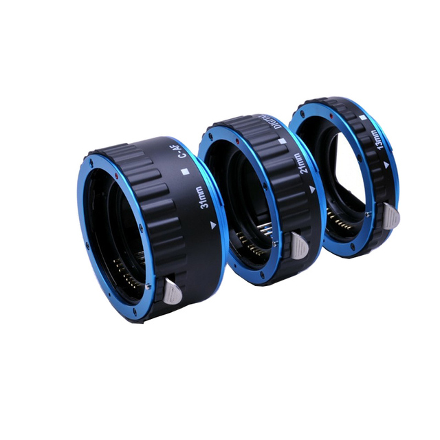 Azul Metal Monte Foco Automático AF Macro Anel Tubo de Extensão para Canon & Kenko Lente EF-S T5i T4i T3i T2i 550D 600D 60D 70D 100D 6D 7D
