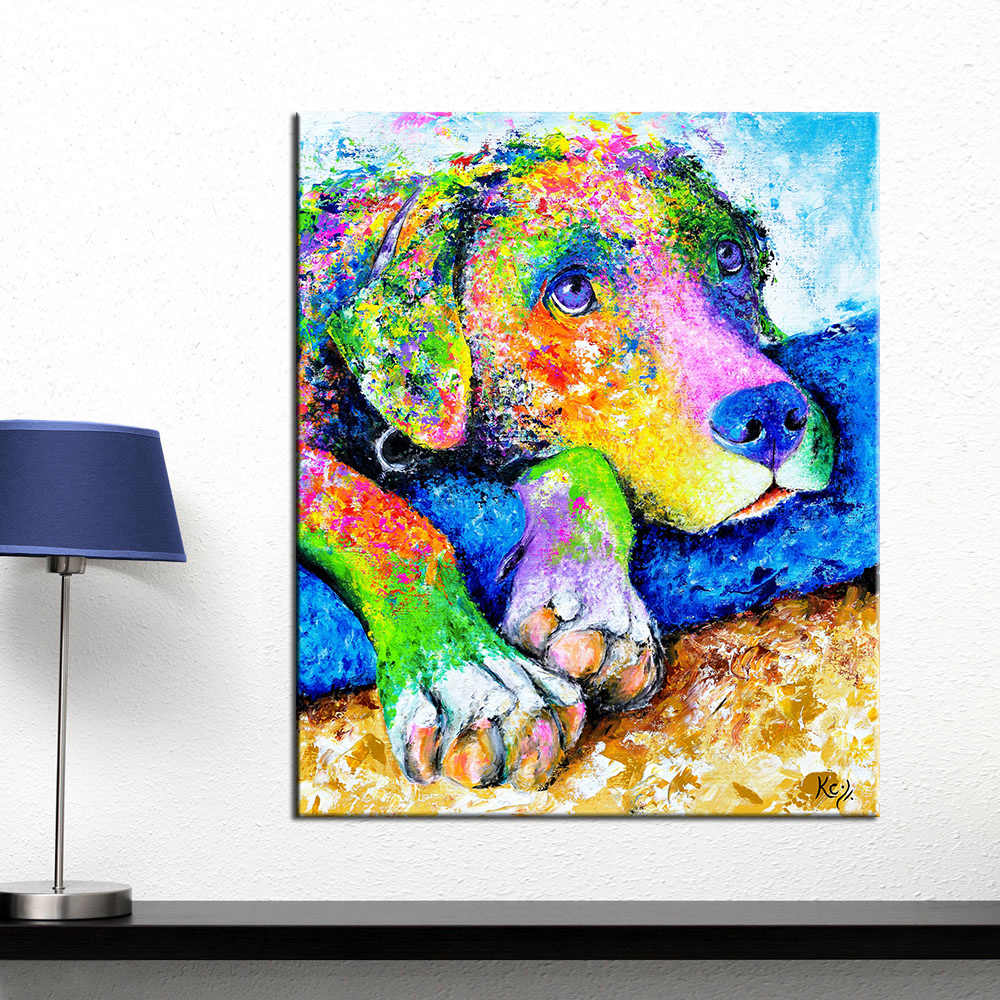 AAVV Oil Painting Wall Art Colorful Dog Wall Pictures for Living Room Animal Poster on the Canvas No Frame Posters and Prints