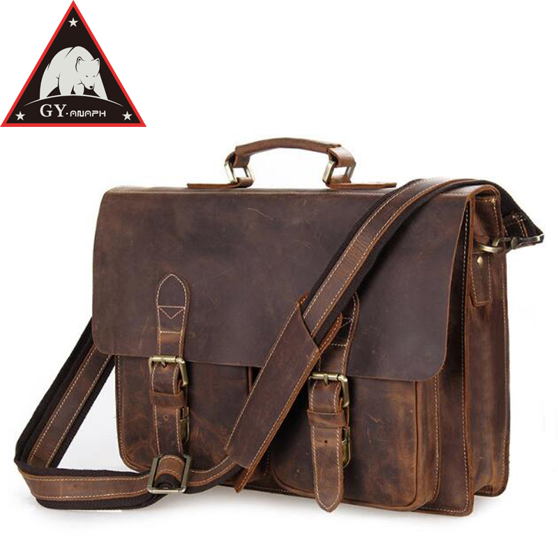 ANAPH Crazy Horse Business Briefcases For Men/ Cow Leather 15 Inch Laptop Case/ Messenger Bag Removeable Compartment/ Satchels anaph vintage crazy horse men s leather durable briefcases 15 laptop bag brown cowhide business tote bags 30 year warranty