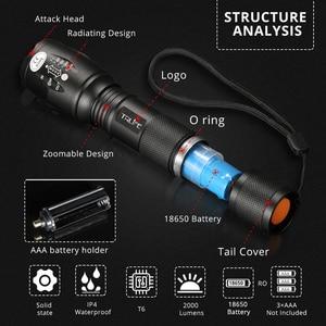 Image 5 - Linternas L2 táctica Led, linterna Ultra brillante T6, luz de Camping, 5 interruptor de cambios, luz de senderismo con zoom, luz de batería 18650