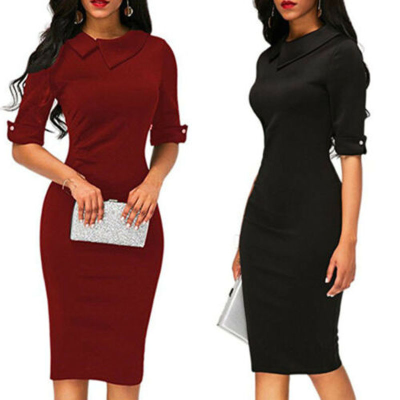 Hirigin Elegant Women Bandage Bodycon Half Sleeve Dresses Evening Party Work Office Midi Formal Office Lady Dress  Dropship