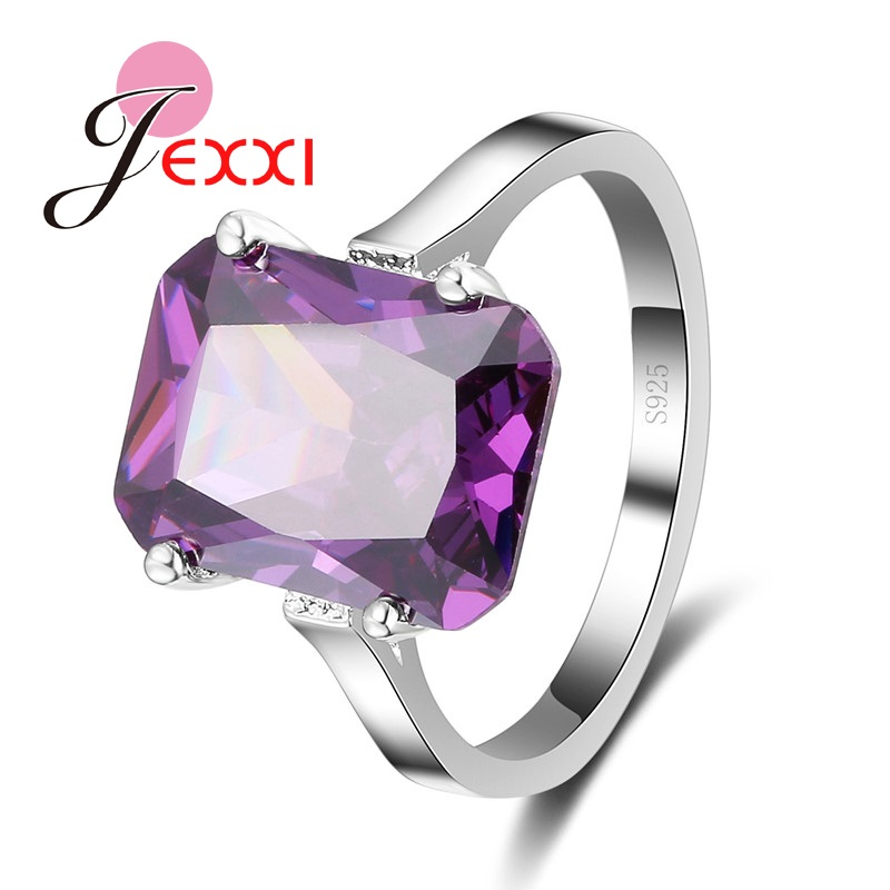Brand Quality AAA CZ Light Purple Crystal Free Shipping 925 Sterling Silver Woman Propose Engagement Ring Jewelry