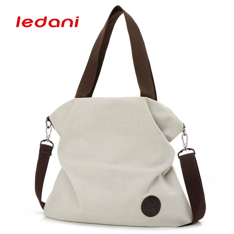 LEDANI Casual Women Bag Beach Canvas Bags Female HandBags Over the Shoulder Bags Crossbody Travel Tote Purse aosbos fashion portable insulated canvas lunch bag thermal food picnic lunch bags for women kids men cooler lunch box bag tote