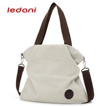 LEDANI Casual Women Bag Beach Canvas Bags Female HandBags Over the Shoulder Bags Crossbody Travel Tote Purse