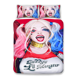 Новый роскошный мягкий отряд самоубийц мультфильм Харли Квинн 3D комплект постельного белья Джокер одеяло постельные принадлежности Посте...