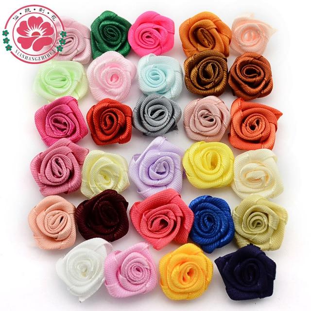100pcs Lot 20mm Handmade Satin Rosettes Ribbon Rose Flowers Kids