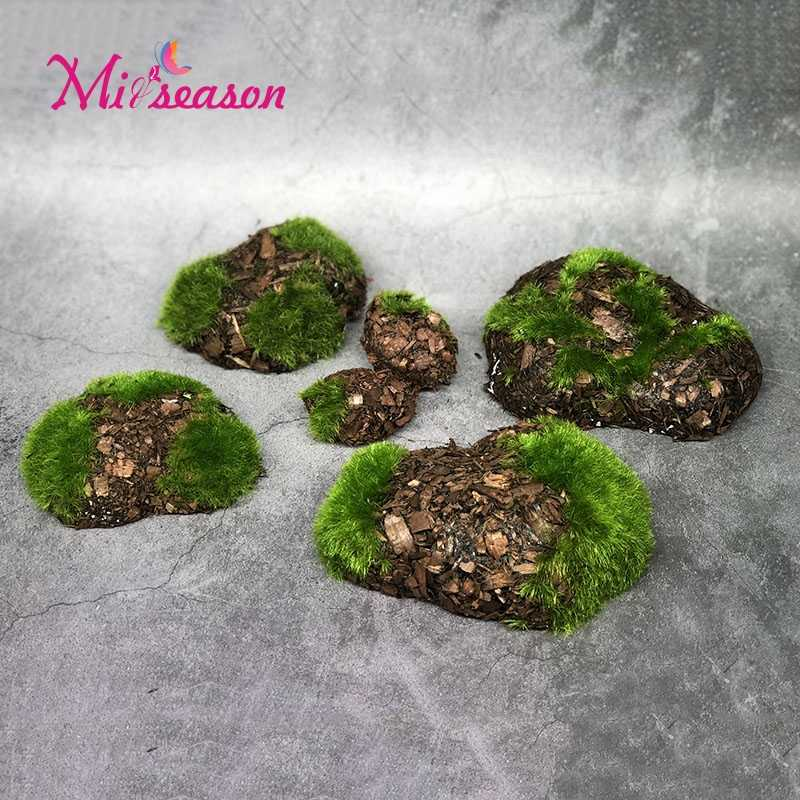 6pc/bag Wood Chip Green Foam Fake Stone Rock DIY Artificial Moss Stones Grass Plant Home Garden Landscape Decoration