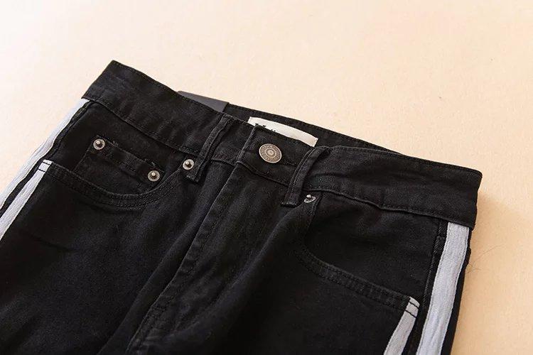 Fetoo 17 High waist jeans women skinny flare pants side stripe Spliced jeans moustache street ankle-length pants elegant S-XL 24