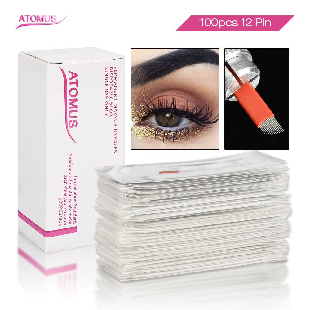 100pcs 12 Flex Laminas Tebori 12 Pin Microblading Agujas Permanent Makeup Needles Tattoo Blade Agulha Maquiagem Definitiva