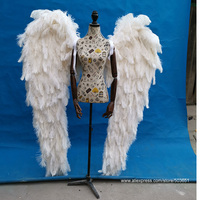 Hight quality Luxurious Ostrich feather angel wings white fairy wings beautiful wedding Grand event deco props