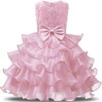 Bloem Meisjes Prinses Eerste Verjaardag Outfits 1 en 2 Jaar Oud Verjaardag Baby Peuter Jurken Kleding Vestido Infantil Para Festa