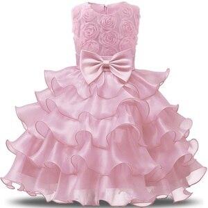 Kwiat dziewczyny księżniczka pierwsze urodziny stroje 1 i 2 lata stara urodziny Baby maluch sukienki ubrania Vestido Infantil Para Festa