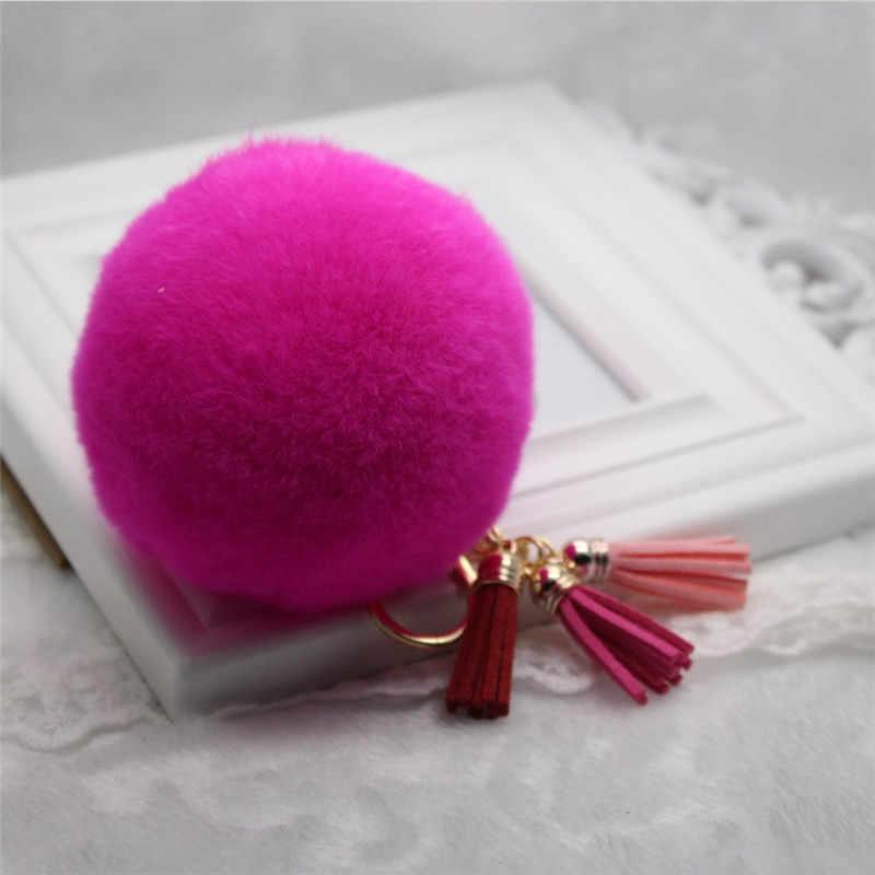 New lady cadeia chave do carro de multi-cor de pele bonito pendant 8 CM Rex cabelo do coelho bola anel chave borla K1098