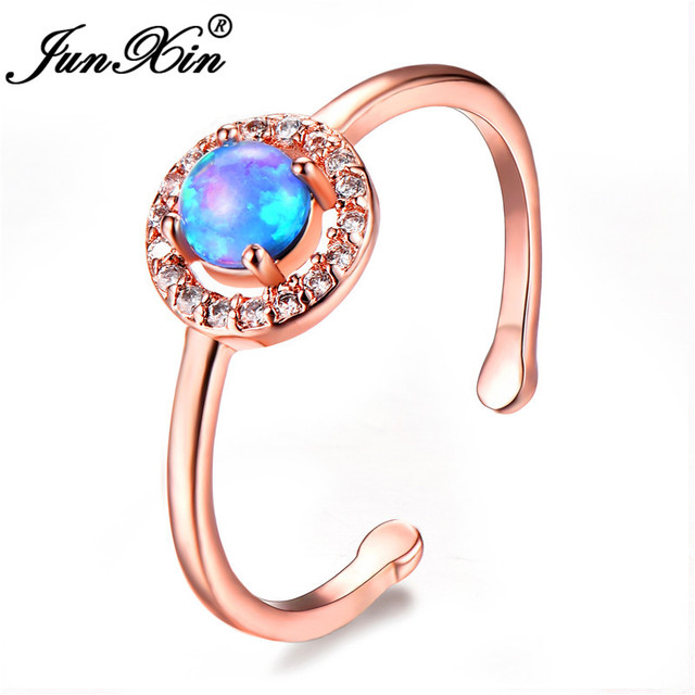 US $1 94 61% OFF|JUNXIN 2018 Dropshipping Blue/White/Purple Fire Opal Stone  Opening Rings For Women Round Rainbow Birthstone Ring CZ Wedding Gift-in