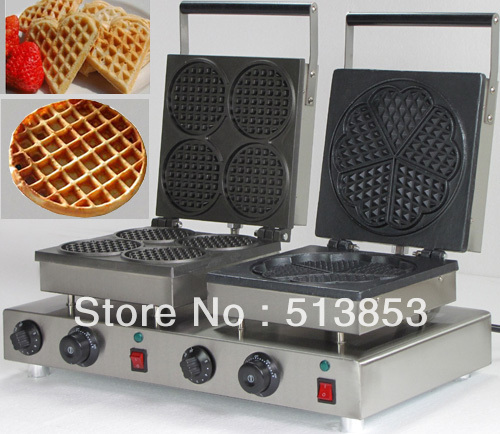 High Quality Doulbe-Head  Electric Round Waffle + Heart Shape Waffle Maker Machine Baker economic and elegance waffle maker machine baker doulbe head electric churros with bar shaped and popsicle