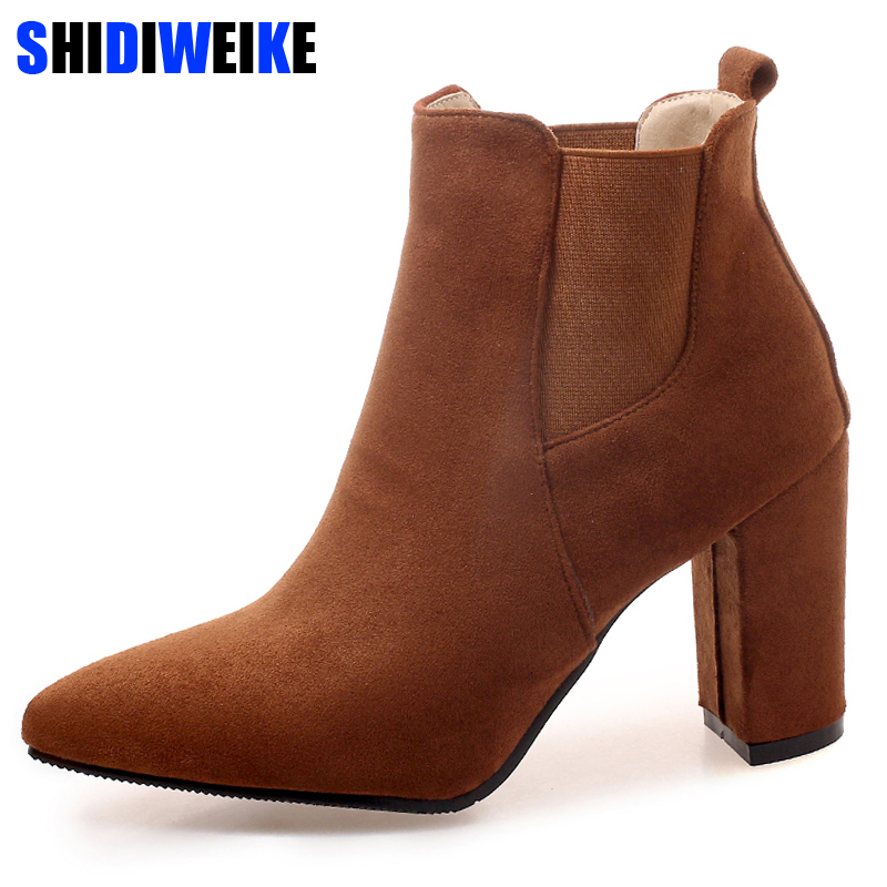 Hot Autumn Winter Women Boots Solid European Ladies shoes Martin boots Suede Leather ankle boots with thick scrub size 34 43